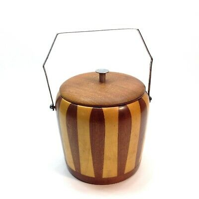 Mid Century Wooden Ice Bucket