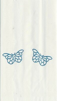 Set Of 12 Blue Filigree Butterfly 14 X 8 Size White Cake Bags