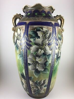 "Rare Antique Japanese Nippon Moriage 17"" Tall. Large Vase. Circa 1891."