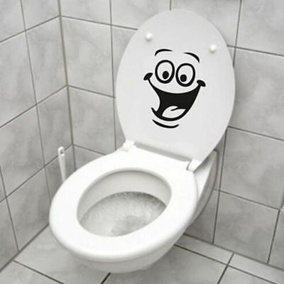 SMILEY FACE TOILET WALL STICKER DECAL ART MURAL FUNNY BATHROOM Acrylic 1PC Z