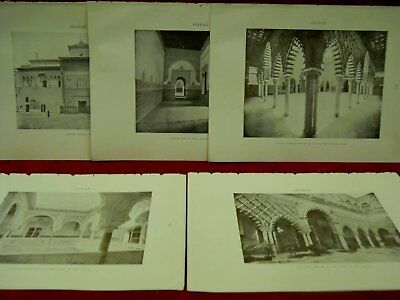 5 fotos Alcazar Sevilla MOORISH REMAINS IN SPAIN  1906
