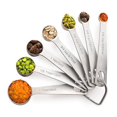 Stainless Steel Metal Round Measuring Spoons Set of 7 Home Cooking Kitchen Tools