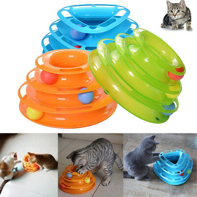 Funny Pet Amusement Trilaminar Toys Crazy 3 Ball Disk Cat Interactive Plate Toy
