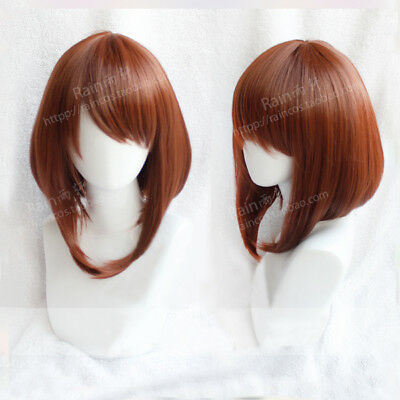 My Boku no Hero Academia Ochako Uraraka Short Bob Brown Cosplay Hair Wig + Cap