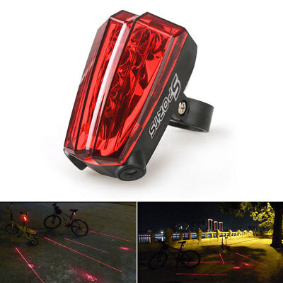 Cycling Bicycle Bike Laser Light Lane Rear Back Tail LED Caution Safe Lamp