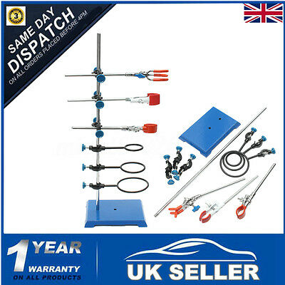 Metal Laboratory Lab Retort Stand Set Flask Clamp Condenser Boss Kit Pole Hoop