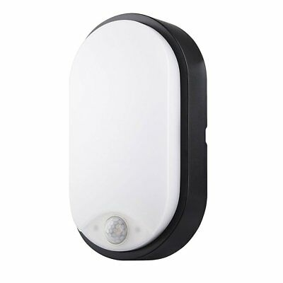LED Security Wall Light Bulkhead w/ PIR Motion Sensor Outdoor Garden Black IP54