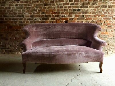 Stunning Antique Sofa Settee Purple Velvet Victorian 19th Century Mahogany
