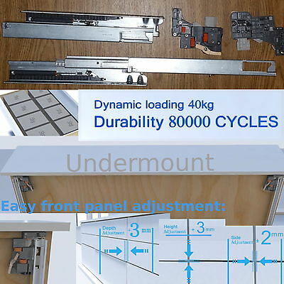 3D adjustment 40kg Load Capacity Soft Close Undermount Drawer Runners Full Ext.