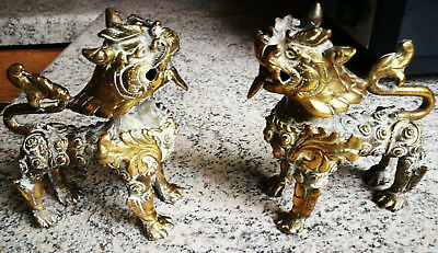 Pair Antique Chinese Brass Fu Dogs Of Fo Figures Unusual