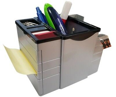 Office Desk Caddy with Tape, Sticky Notes and Flags for Pens and Paper Clips
