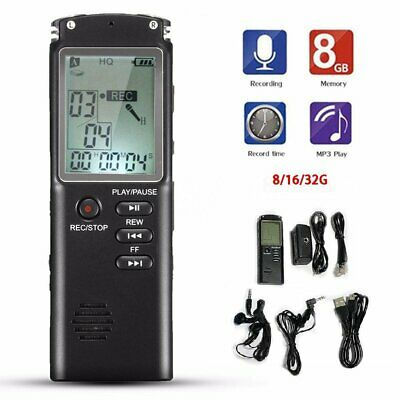 Voice Activated Spy Digital Sound Audio Recorder Dictaphone MP3 Player 8/16/32GB