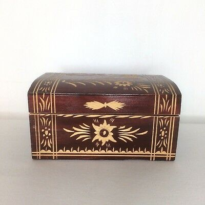 Vintage Wooden Carved Trinket Jewellry Pencil Box 16x12x8cm