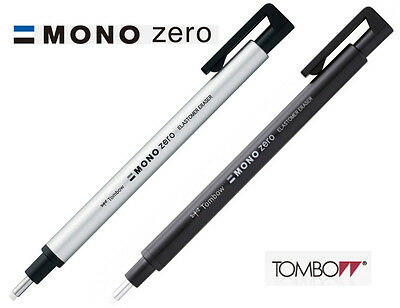 Tombow MONO Zero Round Eraser 2.3mm Diameter: Select from Black or Silver barrel
