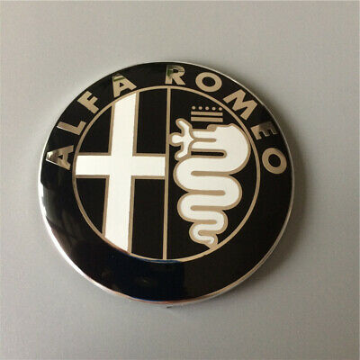 Black 74mm 7.4cm ALFA ROMEO Car Logo Emblem Badge Sticker for Mito 147 156 159