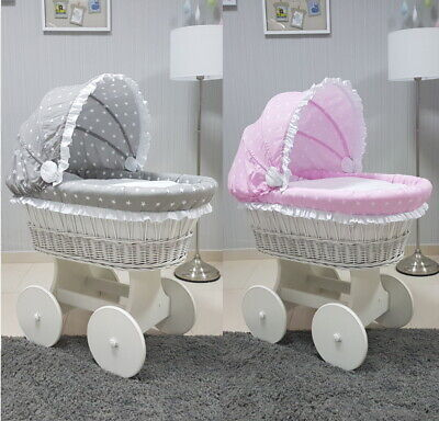 White Wicker Moses Basket With Hood + Chassis + Big Wheels + Bedding 4 Colours
