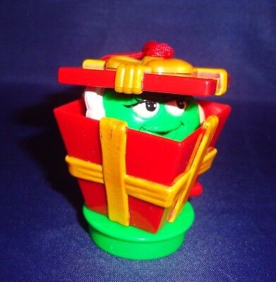 Green M&M's Candy in Pop Up Present Box Holiday Ornament Loose