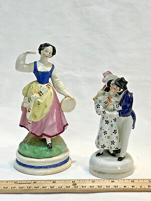 Lot of TWO Antique Staffordshire Girl Holding Tambourine & Couple Embrace Figure