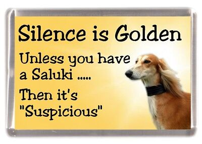 "Saluki Dog Fridge Magnet ""Silence is Golden ............"" by Starprint"