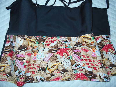 New Black Server 3 Pocket Waiter Waitress Waist Apron Pies Name FREE Lady Pizazz