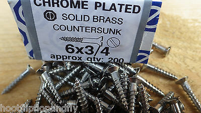 "40 x  3//4/"" x 8 CHROME PLATED ON  BRASS COUNTERSUNK HEAD WOOD SCREWS SLOTTED"