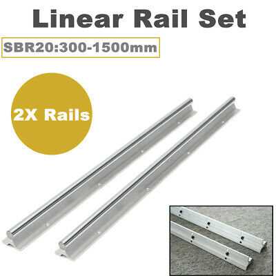2Pcs SBR20 300-1500mm Linear Rail Shaft Rod Fully Supported  Guide Set For CNC