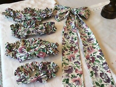 Longaberger Sweet Pea Garters, 1 LG, 2 Med,1 Small & 1 Fabric Bow