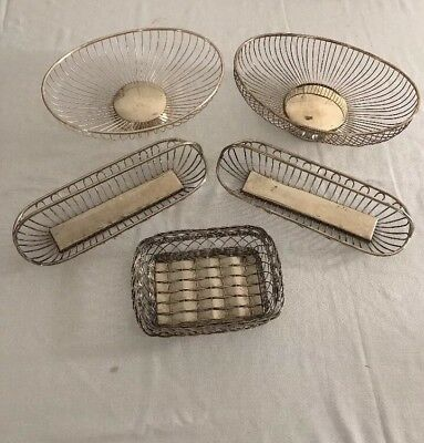 Lot Of 5 Silver Plate Baskets Bread Fruit Dish Wire Oval Vintage Preowned Italy