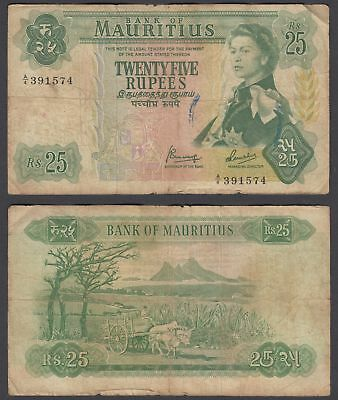 Mauritius 25 Rupees 1967 (VG-F) Condition Banknote KM #32 QEII W/STAMP