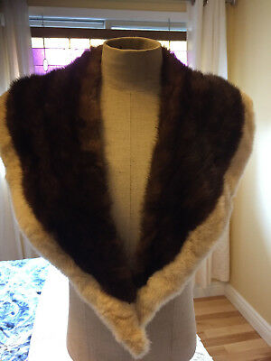 Vtg Brown real mink fur collar with white edge
