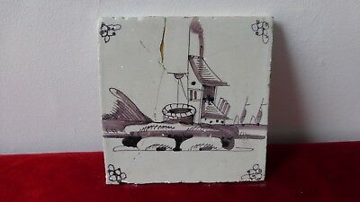 ANTIQUE DUTCH DELFT TILE. Ancien carreau carrelage Manganese Delft. XVIII..Glued