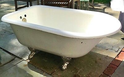 "Vintage 53"" Cast Iron White Porcelain Claw Foot Bathtub Great for Outdoor Shower"