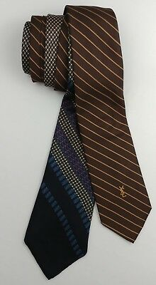 Vintage Yves Saint Laurent Neck Ties Lot of 2 Diagnol Blue Gray Red Brown  Gold bc283b97f9e