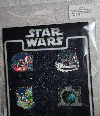 4 Disney Pins Star Wars Characters on rides Quotes Booster Set Pack Yoda Solo