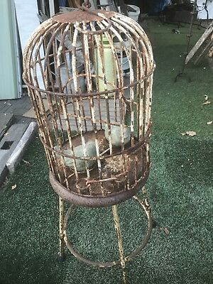 Antique Wrouht Iron Bird Cage With Stand Very Rare