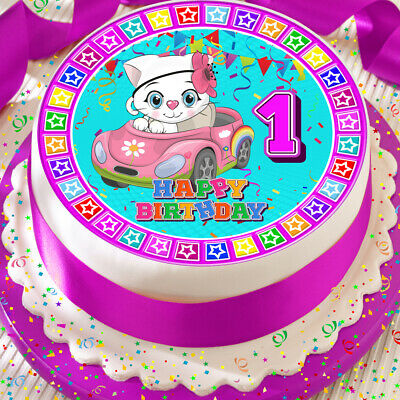 CUTE CAT WITH PINK HAPPY BIRTHDAY 7.5 INCH PRECUT EDIBLE CAKE TOPPER DECORATION