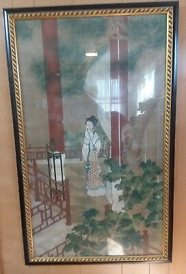 Vintage/Antique Japanese Signed In Beautiful  Black and Gold Frame 52 x 32
