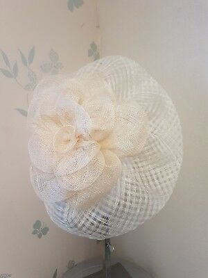 Ivory Sinamay fascinator on headband with Large Natural Coloured Flower.  Ascot