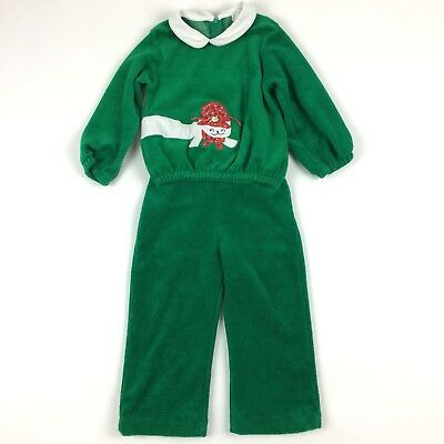 Vintage Thomas Cat Sweater Pants Outfit Set Toddler Green Terry Cloth 3T