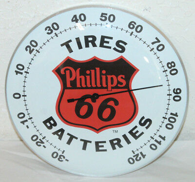 "Phillips 66 Tires Thermometer 12"" Round Glass Dome Sign Vintage Style Man Cave"