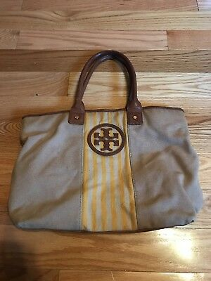 5621a6f4b6a AUTHENTIC TORY BURCH Jaden Dipped Canvas Tote Turquoise Navy ...