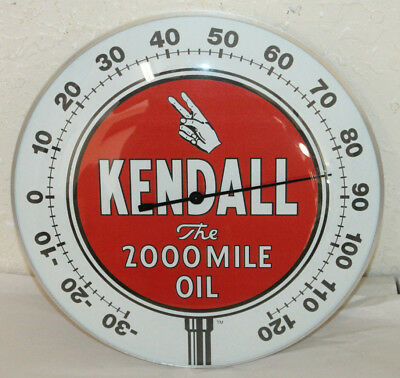 "Kendall Oil Gas Thermometer 12"" Round Glass Dome Sign Vintage Style Man Cave"