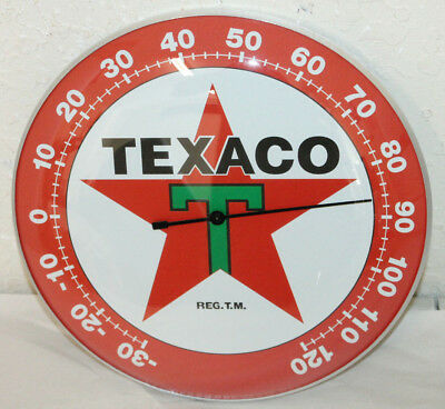 "Texaco Oil Gas Thermometer 12"" Round Glass Dome Sign Vintage Style Man Cave"