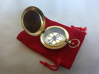 Brass Finish  Dalvey Style Hunters Pocket Compass  With Red Pouch - Gift
