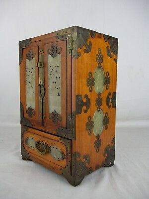 Chinese Jade Wood Tall Jewelry Box