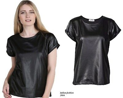 New Women's Ladies Turn Up Cap Sleeve Wet Look Faux Leather PVC PU Top Plus Size