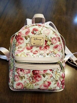 6fc2ecde9359 Loungefly Disney Beauty and the Beast Belle Pink Floral Mini Backpack Purse