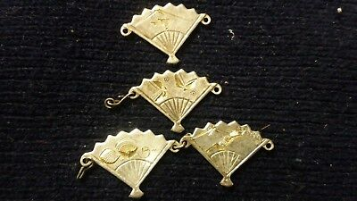 silver,japanese, fan brooch jewelry, hand engraved with yellow gold accents