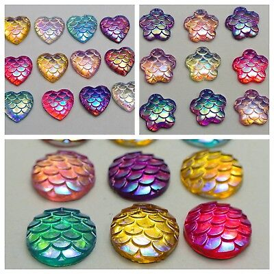 100 Mixed Colour Flatback Resin Fish Scale Pattern Cabochon 12mm Round Heart