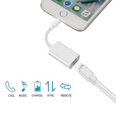 Dual Adapter Charging Splitter Audio Earphone Cable For iPhone Lightning X 7 8+